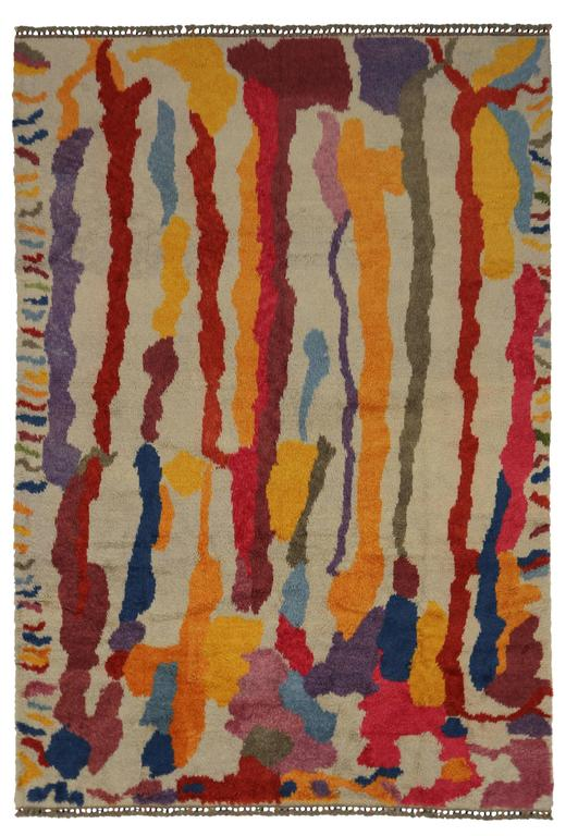 Modern Turkish Tulu Shag Rug with Contemporary Abstract Paint Drip Style For Sale 1