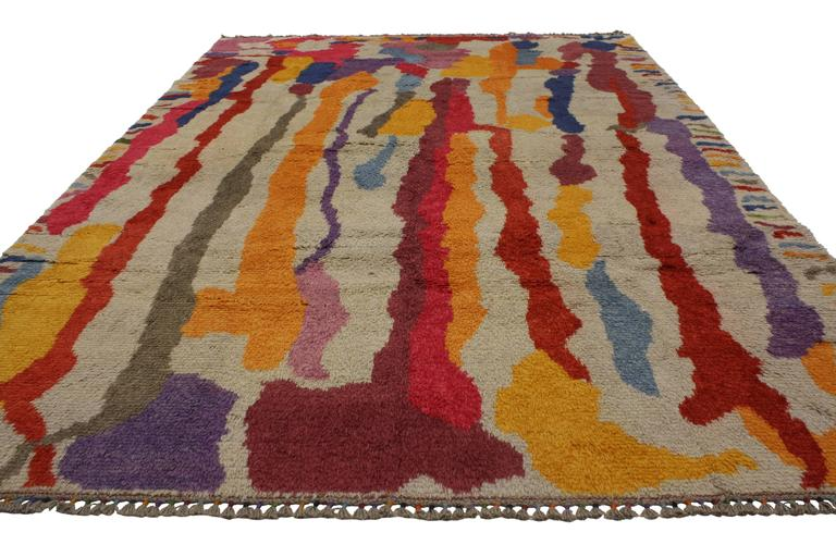 Modern Turkish Tulu Shag Rug with Contemporary Abstract Paint Drip Style 3