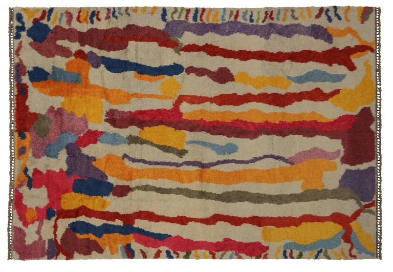 Wool Modern Turkish Tulu Shag Rug with Contemporary Abstract Paint Drip Style For Sale