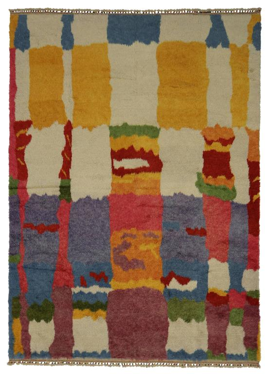 Wool New Colorful Contemporary Abstract Tulu Shag Area Rug For Sale