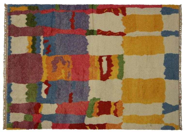 Hand-Knotted New Colorful Contemporary Abstract Tulu Shag Area Rug For Sale