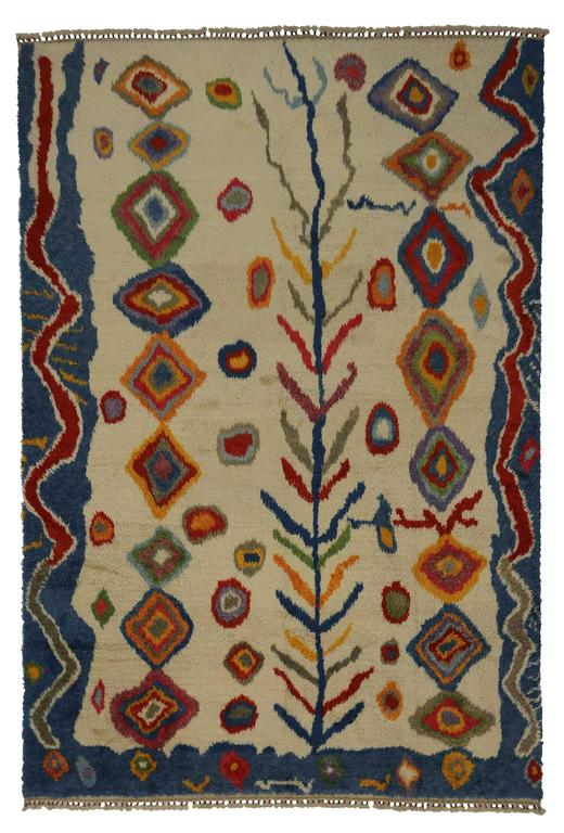 Modern Turkish Tulu Shag Rug with Contemporary Abstract Tribal Style For Sale 1