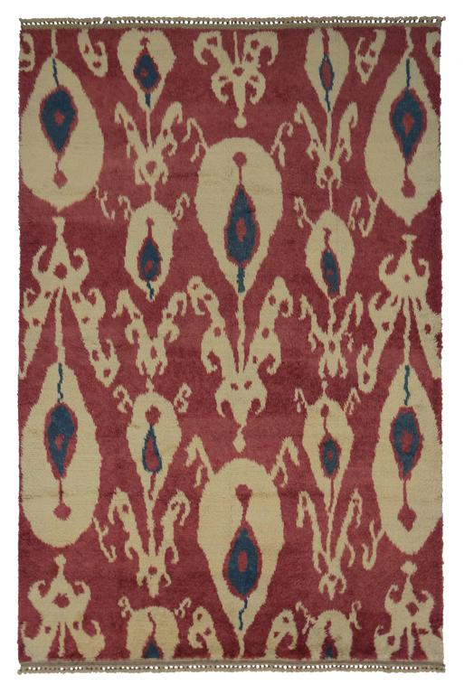 New Turkish Tulu Shag Area Rug with Contemporary Abstract Ikat Pattern For Sale 1