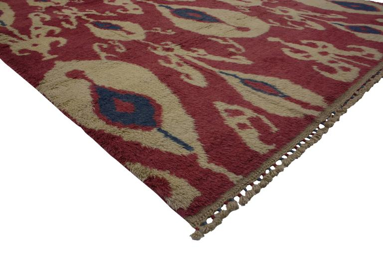 51868 New Turkish Tulu Shag Area Rug with Contemporary Abstract Ikat Pattern.  This New Turkish Tulu Shag Area Rug with Contemporary Abstract Ikat Pattern features a fashion forward design and modern twist to effortlessly accompany stylish decor.