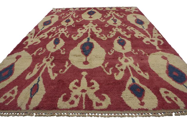 Hand-Knotted New Turkish Tulu Shag Area Rug with Contemporary Abstract Ikat Pattern For Sale