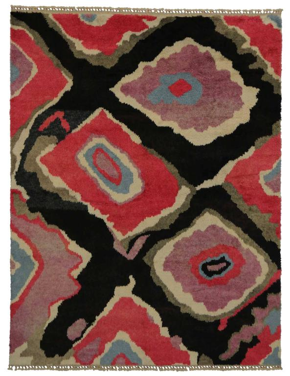 Modern Turkish Tulu Shag Rug with Contemporary Abstract Style For Sale 2