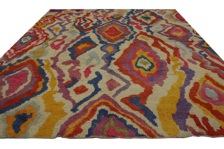 Turkish New Colorful Contemporary Abstract Tulu Shag Area Rug For Sale
