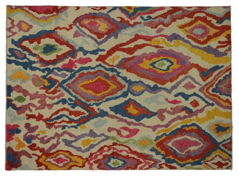 New Colorful Contemporary Abstract Tulu Shag Area Rug For Sale 1