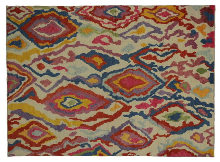 New Colorful Contemporary Abstract Tulu Shag Area Rug In Excellent Condition For Sale In Dallas, TX