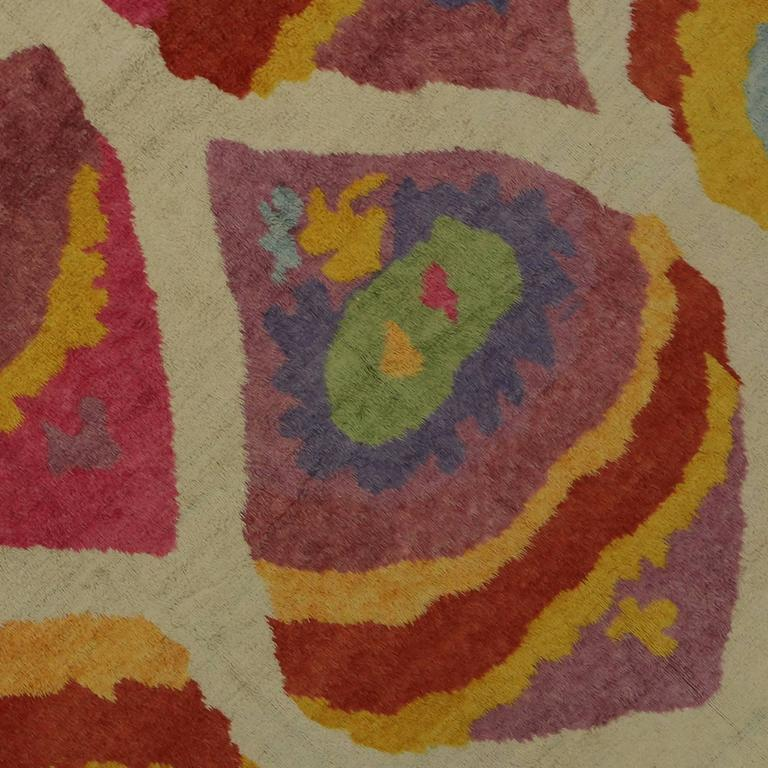 Modern Turkish Tulu Shag Rug with Contemporary Abstract Style In Excellent Condition For Sale In Dallas, TX