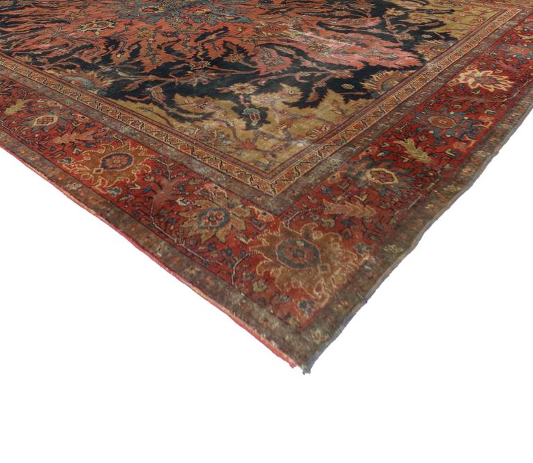 Antique Farahan Rug With Modern Industrial Style Persian