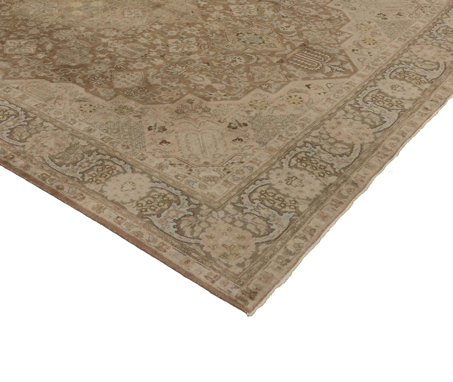 Vintage Persian Tabriz Area Rug In Neutral Colors For Sale