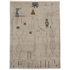 Contemporary Moroccan Rug with Brutalist Design and Tribal Motifs