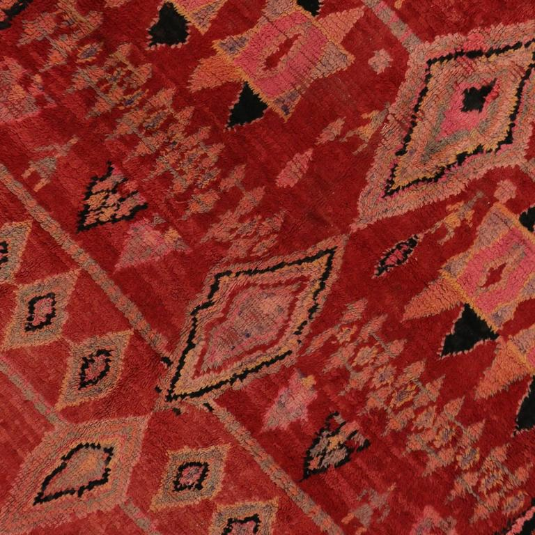 Mid Century Modern Style Red Berber Moroccan Rug With: Mid-Century Modern Vintage Berber Moroccan Rug With Modern