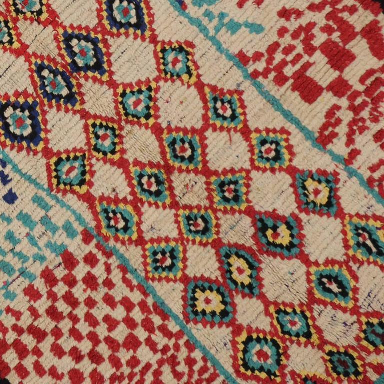 Mid-Century Modern Vintage Berber Moroccan Rug with Tribal Design 4