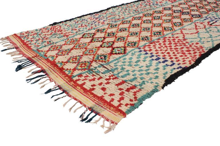 Mid-Century Modern Vintage Berber Moroccan Rug with Tribal Design 5