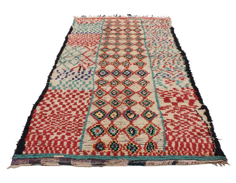 Mid-Century Modern Vintage Berber Moroccan Rug with Tribal Design 6