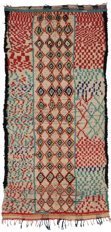 Mid-Century Modern Vintage Berber Moroccan Rug with Tribal Design 7