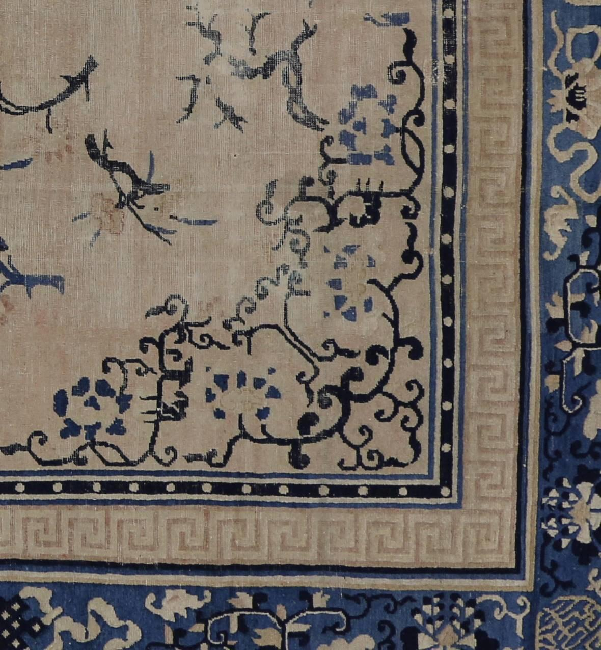Antique Chinese Peking Rug With Chinoiserie Style For Sale