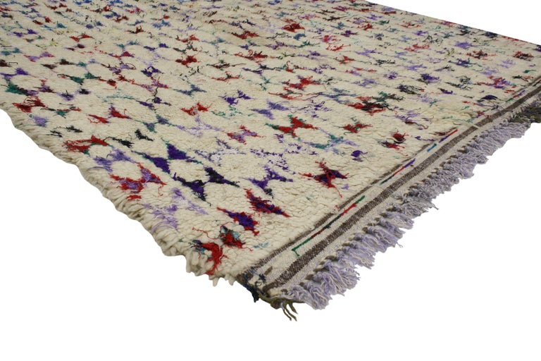 Vintage Berber Moroccan Azilal Rug with Abstract Tribal Design 2