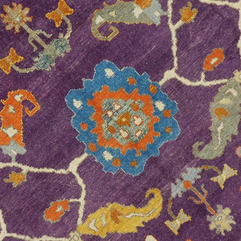 Contemporary turkish oushak rug with modern style purple for Purple area rugs contemporary