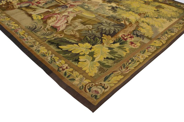 73139 Antique French Rococo Tapestry Inspired by Francois Boucher, Romance in the Country, Pastoral Tapestry Wall Hanging. Drawing inspiration from Louis XV style and Francois Boucher's Romance in the Country, this handwoven wool and silk antique