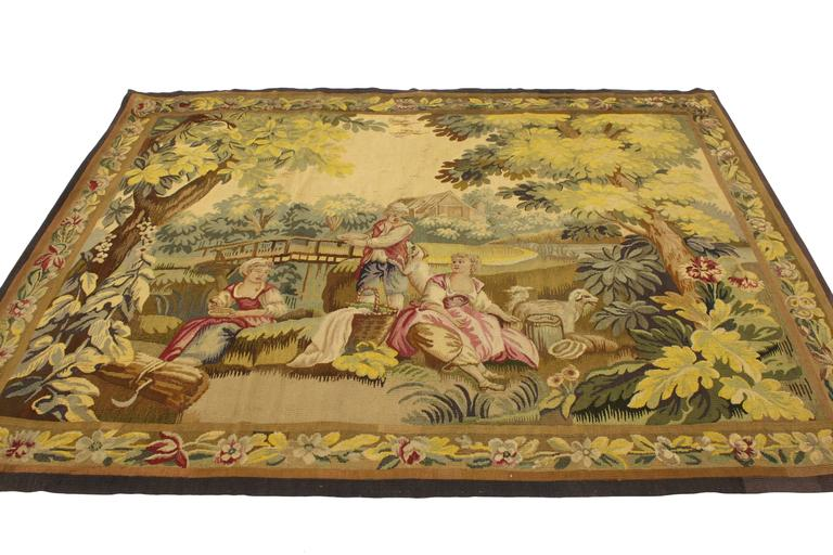 French Provincial Antique French Rococo Tapestry Inspired by Francois Boucher, Country Romance For Sale
