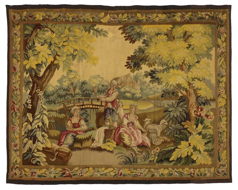 Antique French Rococo Tapestry Inspired by Francois Boucher, Country Romance For Sale 3