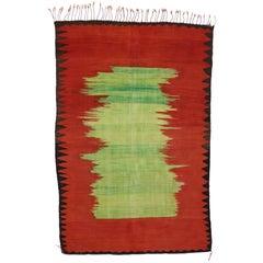 Vintage Berber Moroccan Kilim Rug with Modern Tribal Style, Flatweave Kilim Rug.