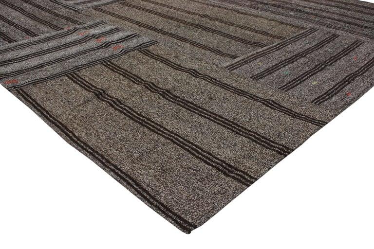 Hand-Woven Vintage Turkish Gray Flatweave Kilim Rug with Black Stripes, Flat-weave Rug For Sale