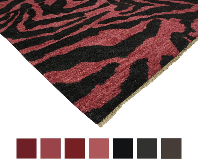 Contemporary Red-Pink And Black Zebra Print Rug, Moroccan