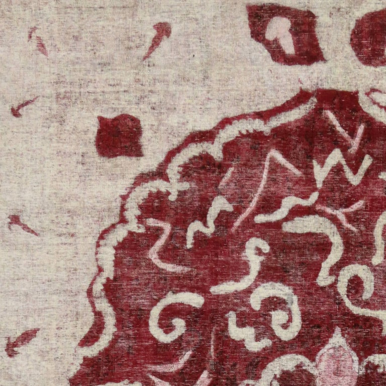 Ivory Wool And Silk Persian Naein Area Rug For Sale At 1stdibs: Distressed Vintage Persian Overdyed Red And Ivory Area Rug