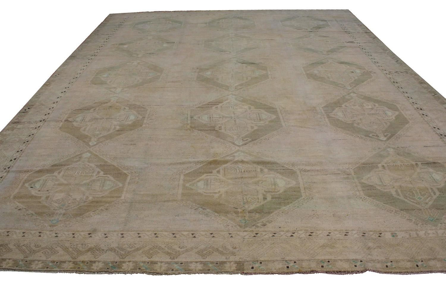 Vintage Turkish Oushak Rug With Muted Washed Out Colors