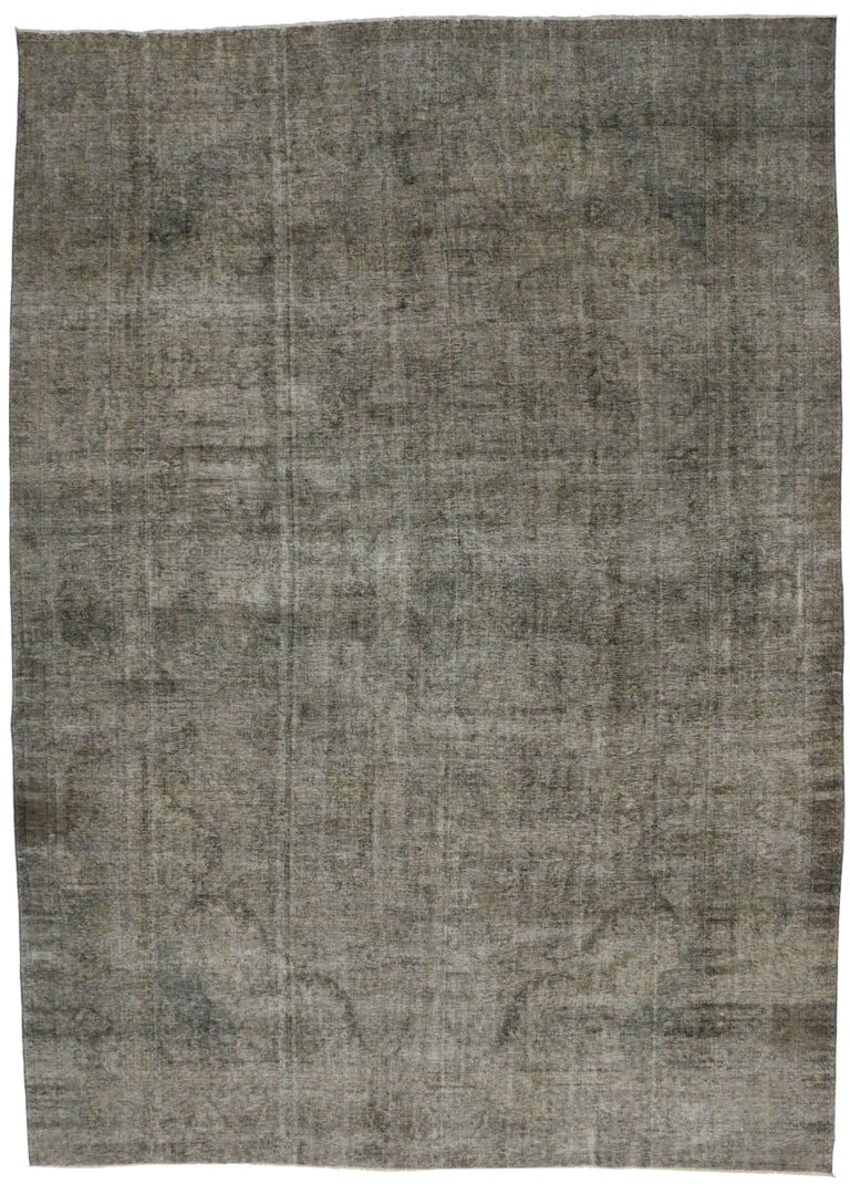 Rustic Modern Industrial Style Vintage Persian Overdyed