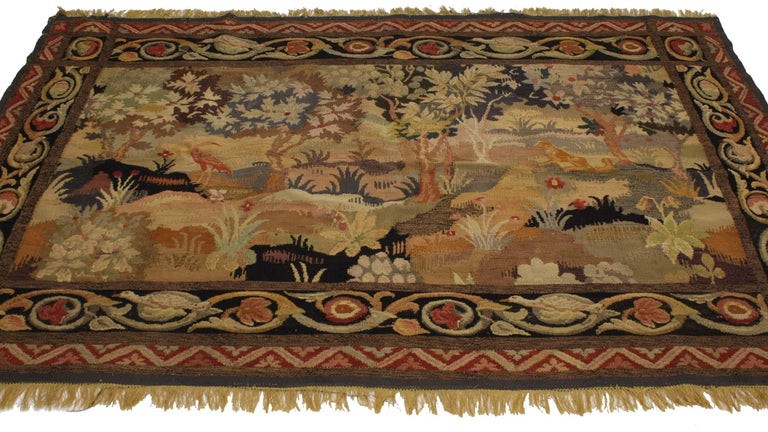 76928 Late 19th-Century Antique French Aubusson Verdure Tapestry, Landscape Scene Wall Hanging. This hand-woven silk and wool late 19th-century antique French Aubusson verdure tapestry depicts a landscape scene of the French countryside. Displaying