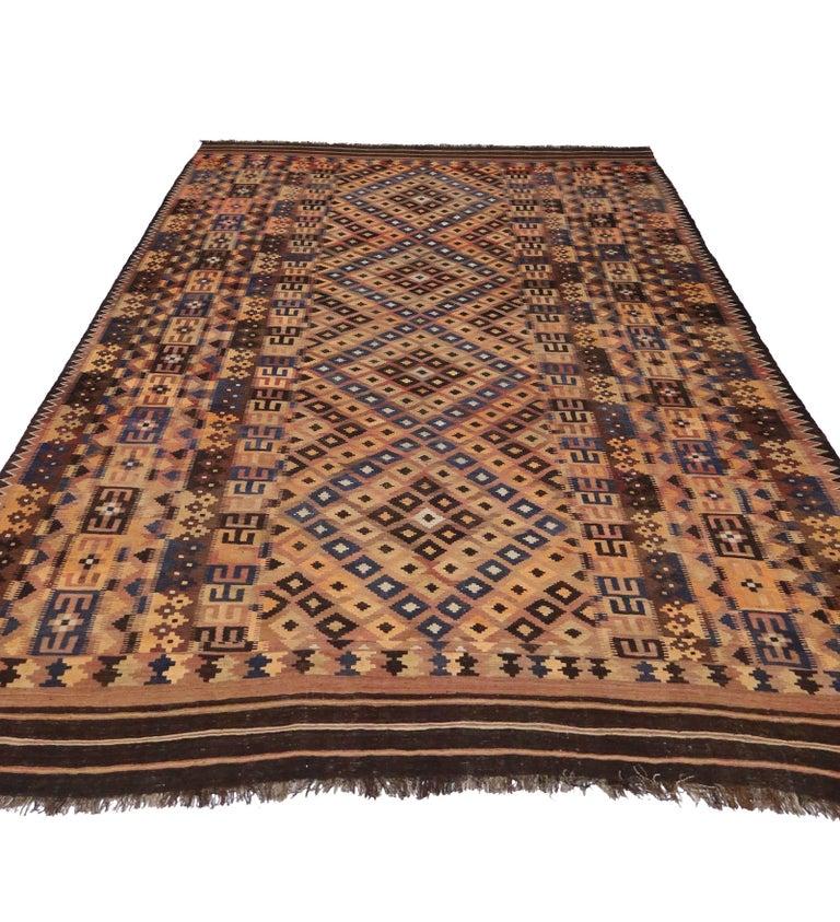 Vintage Afghan Kilim Rug With Modern Tribal Style At 1stdibs