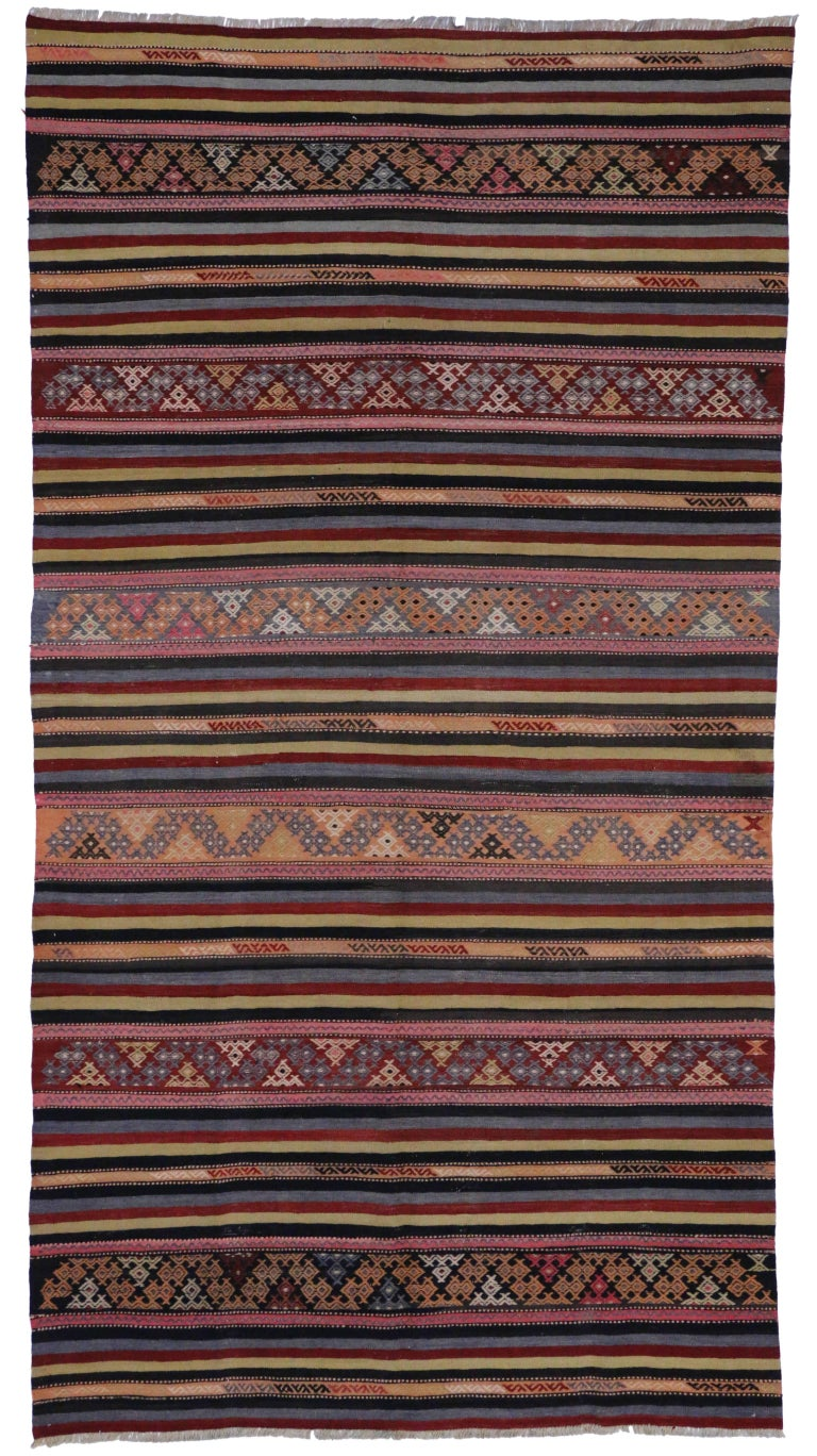 Boho Vintage Black Turkish Kilim Rug With Stripes And