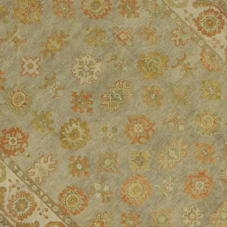 Contemporary New Modern Turkish Oushak Rug with Transitional Style For Sale