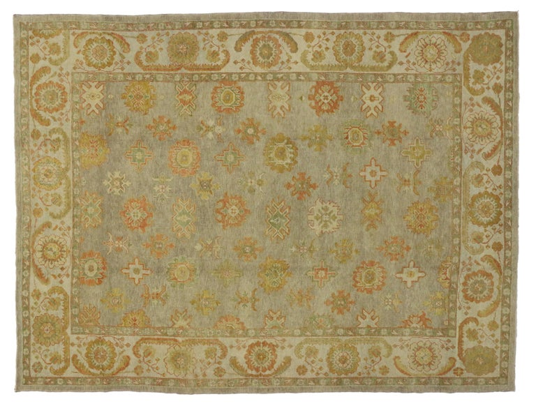 New Modern Turkish Oushak Rug with Transitional Style For Sale 1