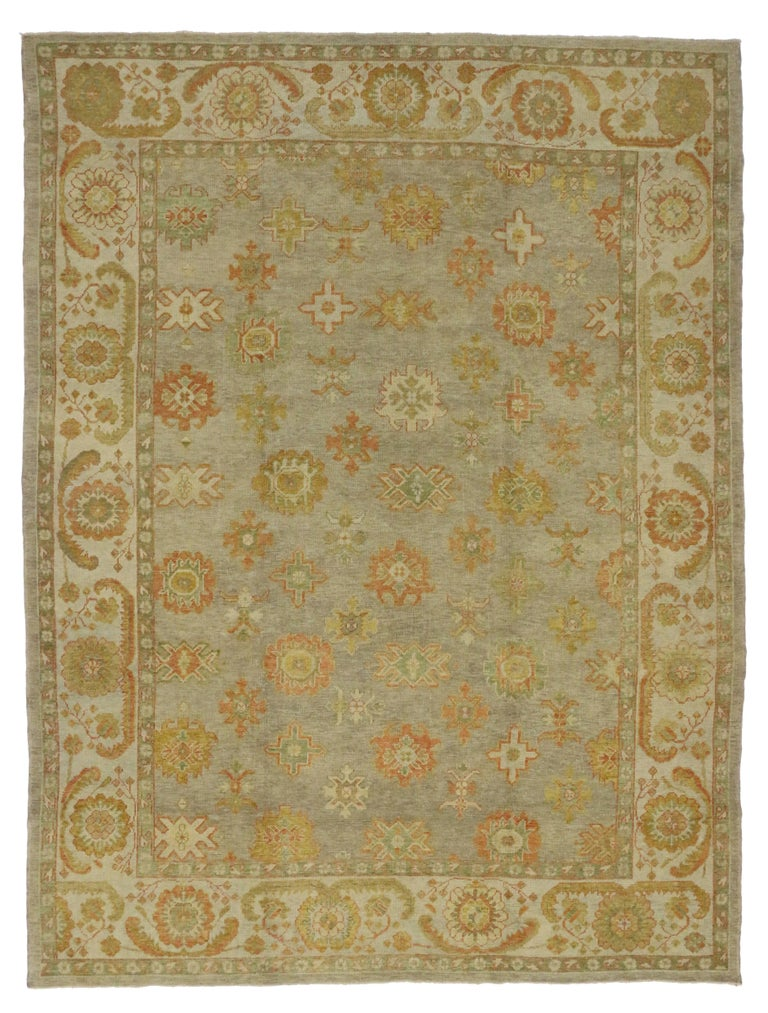 Wool New Modern Turkish Oushak Rug with Transitional Style For Sale