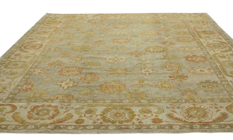 Hand-Knotted New Modern Turkish Oushak Rug with Transitional Style For Sale