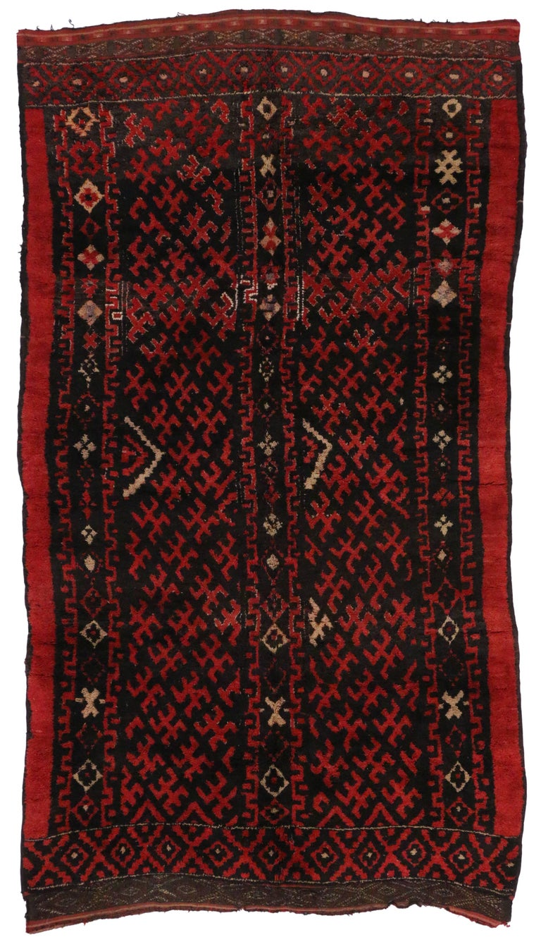 Mid Century Modern Style Berber Moroccan Rug With Tribal