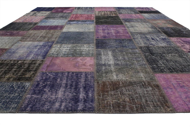 Hand Knotted Vintage Purple Patchwork Persian Rug With Modern Style For