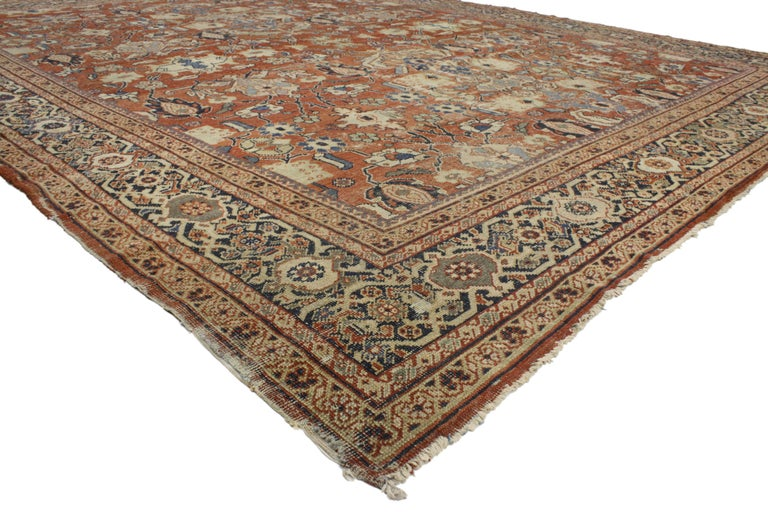 76939 Distressed Antique Persian Mahal Rug With Modern Industrial Style This Late 19th Century