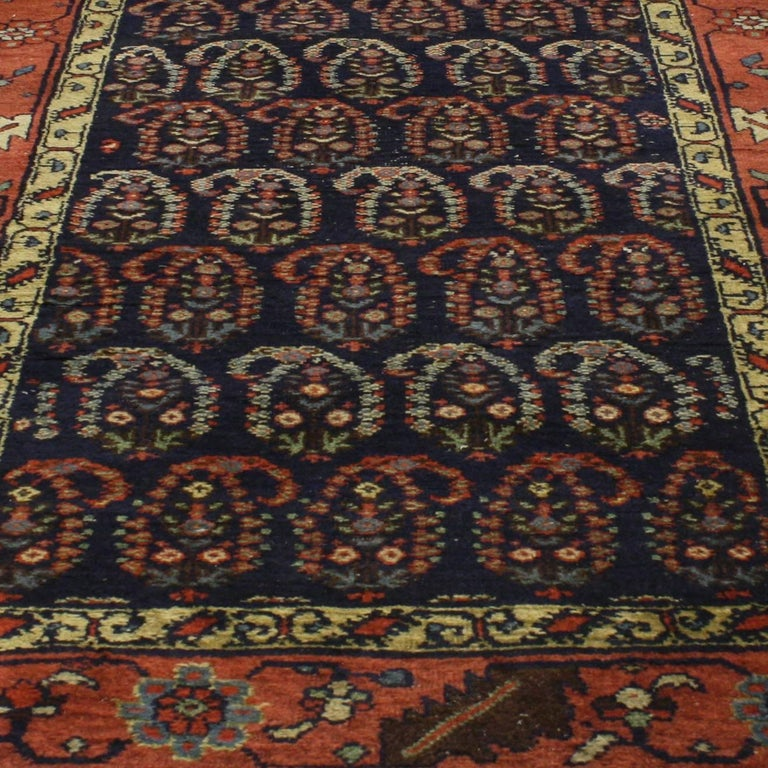 Antique Persian Bijar Runner with Boteh Design and Modern Victorian Style For Sale 7