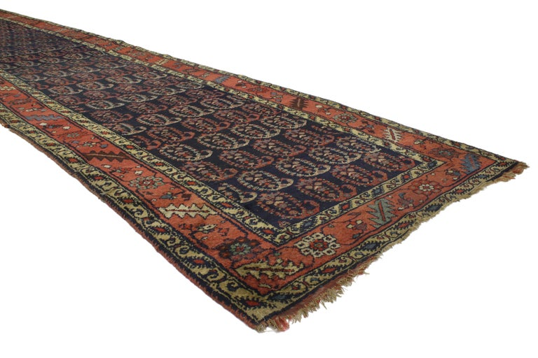 Antique Persian Bijar Runner with Boteh Design and Modern Victorian Style For Sale 4