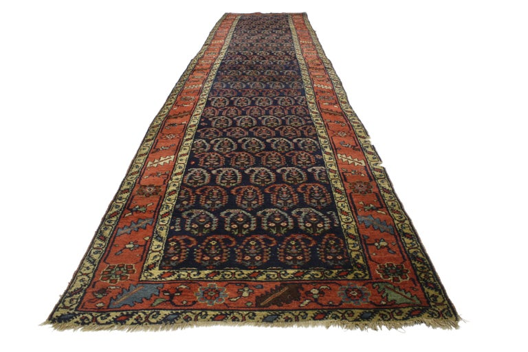 Antique Persian Bijar Runner with Boteh Design and Modern Victorian Style For Sale 5