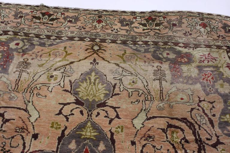 Vintage Turkish Sivas Rug In Soft Pastel Colors In Art