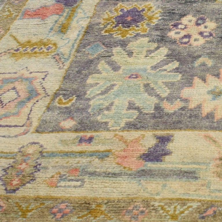 Contemporary Turkish Oushak Rug With Pastel Colors And