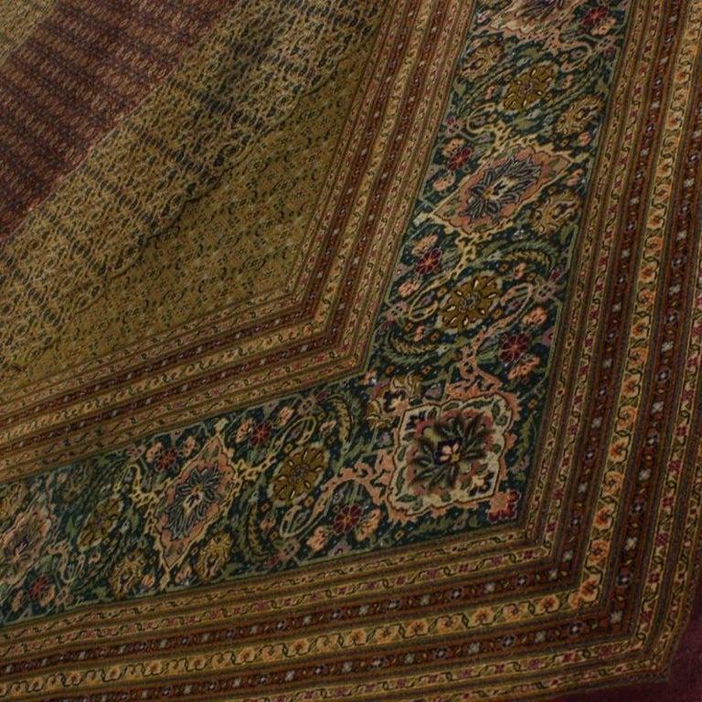 Vintage Persian Mahi Design Tabriz Rug With Traditional
